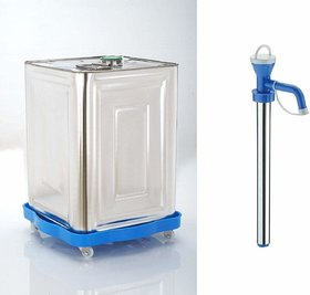 Plastic Oil Tin Trolley with Wheel/Oil Can Stand/Oil Tin Stand with Stainless Steel Oil Pump