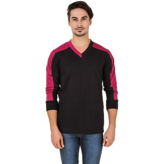 Aurelio Marco Maroon Black V Neck T Shirt