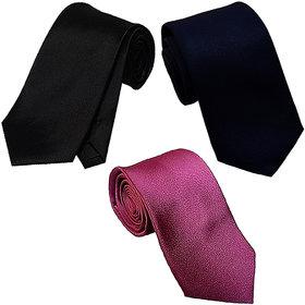 SUNSHOPPING men's multicolor plain micro fiber narrow tie (pack of three)