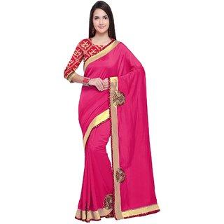 Aagaman Pink Chanderi Silk Party Wear Border Worked Saree