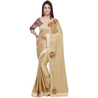 Aagaman Cream Georgette Party Wear Border Worked Saree