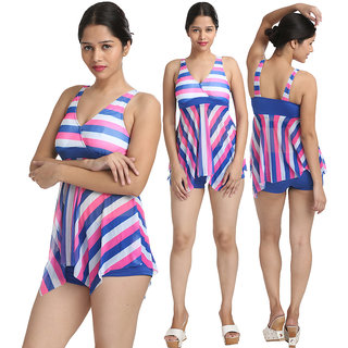 Fascinating Multi Striped Two Piece Bathing Suit Boy Short Bottom Tankini