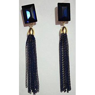 Long Tassel blue earrings