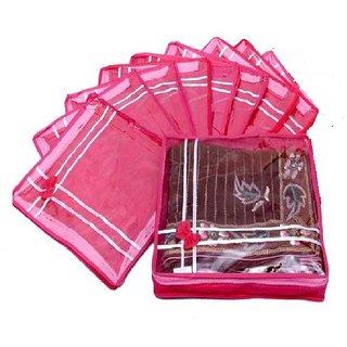 ADWITIYA - Set of 9 Pcs Bow Design 2 inch Nonwoven Saree Salwar Suit Shirt Jeans Bedsheet Garment Cloth Cover Case -Pink