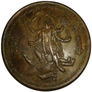 GODDESS  JAI MAA KALI 1818 TEMPLE TOKEN ONE ANNA COPPER COIN