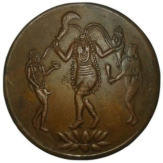 MAA CHINMASTIKA EAST INDIA COMPANY ONE ANNA 1818 TEMPLE TOKEN COPPER COIN