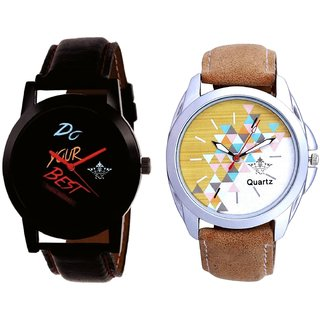 Black Dial Do Your Best And White-Brown Designer Dial Analogue SCK Men's Combo Watch