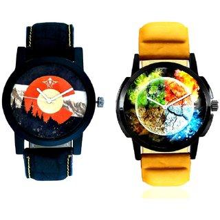 Stylish 3D Designer And Winter Mount Themes Men's Combo Analog Wrist Watch By Taj Avenue