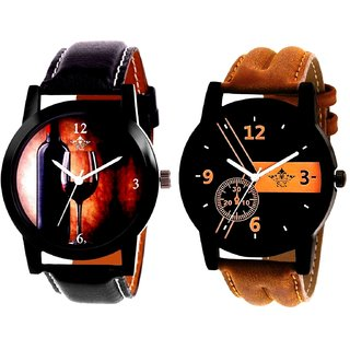 Luxury Brown Leather Strap And Wine Glass Luxury Style Analog Men's Combo Wrist Watch