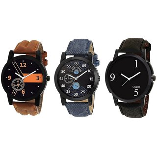 Glamexy New Watch Lorem New Design Combo Watch for Men and Boys - Pack of 3