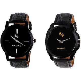 Kajaru KJR-7,8 Round Black Dial Analog Watch Combo for Men