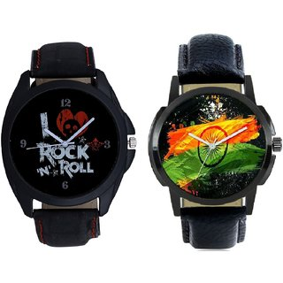 Indian Flage And I Love Rock N Roll Print Dial Men's Combo Analog Wrist Watch By Taj Avenue