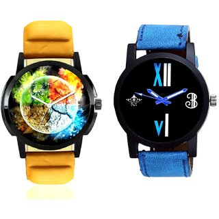Stylish 3D Designer And Roman White - Blue Fancy Men's Analog Combo Casual Wrist Watch BY Harmi Exim