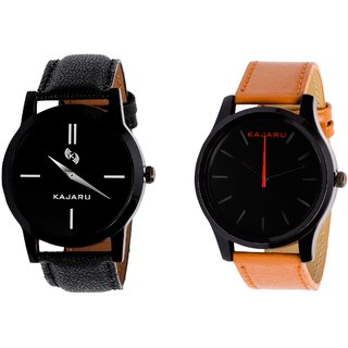 Kajaru KJR-7,13 Round Black Dial Analog Watch Combo for Men
