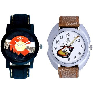 Stylish Guitar Art And Winter Mount Themes Men's Combo Analog Wrist Watch By Taj Avenue