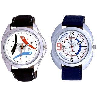 Luxury Design 3 Fan And Blue Sport Leather Strap Casual Analog Combo Men's Watch By Taj Avenue