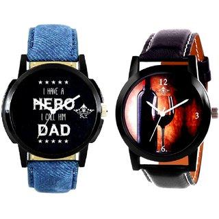 Wine Glass Luxury Style And My Ded My Hero Men's Combo Wrist Watch By Taj Avenue