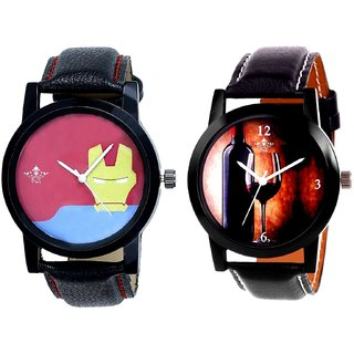 Wine Glass Luxury Style And Yellow Iron Men Dial Men's Combo Wrist Watch By SCK
