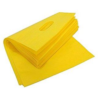 Non woven Carry Bag,Shopping Bag,Reusable Bag,Grocery Bag,Eco friendly Bag,D-Cut Bag (YELLOW Size 12'X16'Pack of 75)
