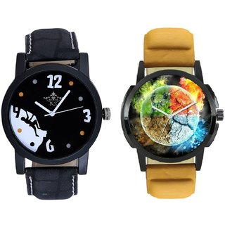 Stylish 3D Designer And Goal Achived Motivated Men's Analog Combo Casual Wrist Watch By Taj Avenue