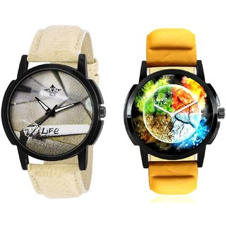 Stylish 3D Designer And Life Print Dial Men's Combo Quartz Watch By Ram Enterprise