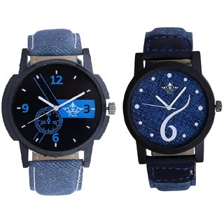 Luxury Blue Round Dial And Luxury Sixth Design Dial Analog Men's Combo Wrist Watch