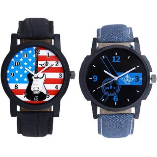 Awesome Blue Dial And Awesome USA Design Analog Men's Combo Wrist Watch