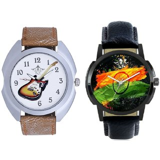 Indian Flage And Stylish Guitar Art Casual Analog Combo Men's Watch By Taj Avenue