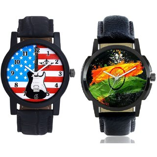 Indian Flage And Exclusive USA Design Analogue Men's Combo Wrist Watch By Gujrat Hub