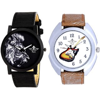 Stylish Guitar Art And White Lion Men's Combo Quartz Watch By Taj Avenue