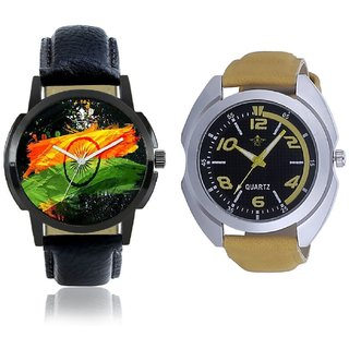 Indian Flage And Fancy Yellow Sports Strap Men's Combo Analog Wrist Watch BY Harmi Exim