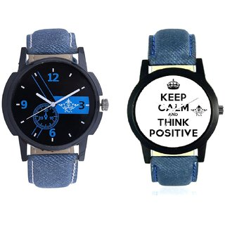 Super Power Of Positive Thinking And Awesome Blue Dial Analogue SCK Men's Combo Watch