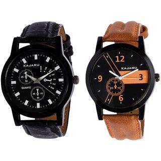 KDS KJR-9,4 Round Black Dial Analog Watch Combo for Men