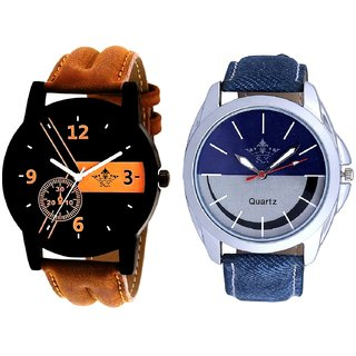 Brown Leather Strap And Latest Smile Dial Analog SCK Combo Watch -For Men