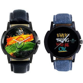 Indian Flage And Every Thinke Will Be Ok Analogue Men's Combo Watch By Taj Avenue