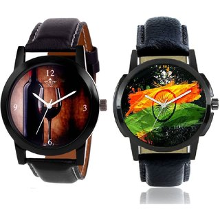 Indian Flage And Wine Glass Luxury Style Men's Combo Casual Watch By Google Hub
