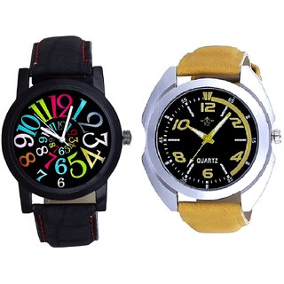 Yellow Sports Strap And Black Dial Multi Colour Digit SCK Analogue Combo Watch