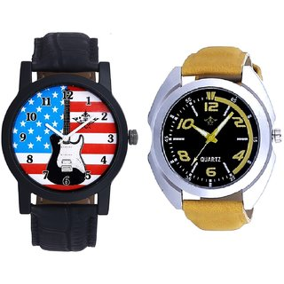 Yellow Sports Strap And Awesome USA Design Analog Men's Combo Wrist Watch