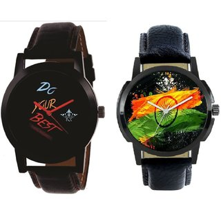 Indian Flage And Do Your Best Multi Colour Quartz Analogue Combo Watch By SCK