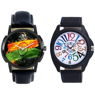 Indian Flage And Addition Multi Colour Digits Men's Combo Wrist Watch By Taj Avenue