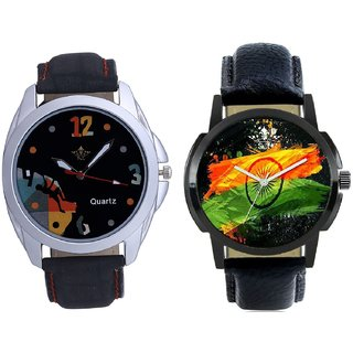 Indian Flage And Goal Achived Art Men's Combo Wrist Watch By Taj Avenue