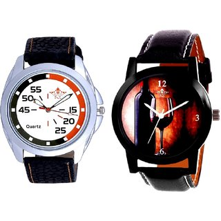 Glassy Classic Style With Round Dial Orange Black SCK Combo Gallery Wrist Watch