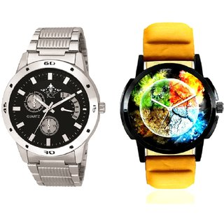 Stylish 3D Designer And Luxury Black Dial Metal Belt Men's Combo Analog Wrist Watch By SCK