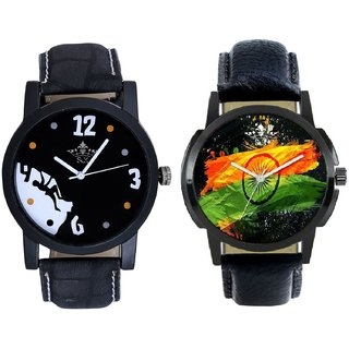 Indian Flage And Goal Achived Motivated Men's Analog Combo Casual Wrist Watch By Taj Avenue