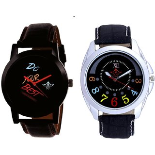 Black Dial Do Your Best And Black Dial Colour Digits SCK Men's Combo Wrist Watch