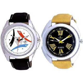 Exclusive Roman Digits And Colourful Tri Fan Analogue SCK Men's Combo Watch