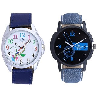 Awesome Blue Dial And Flowers Multi Colour Analog SCK Combo Watch -For Men