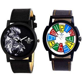 Exclusive Multi Colour And White Lion Men's Combo Quartz Watch By Taj Avenue