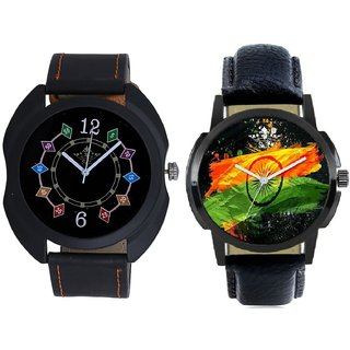 Indian Flage And Fancy 3D Chain Look Men's Analog Combo Casual Wrist Watch By Taj Avenue