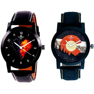 Winter Mount Themes And Love Print Dial Men's Combo Casual Watch By SCK
